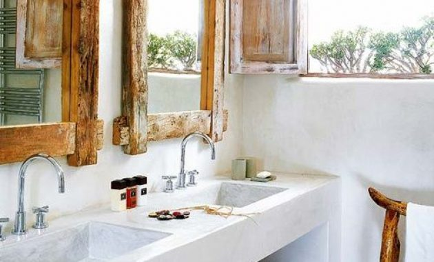 Tropical Farmhouse Bathroom With Much White Plaster