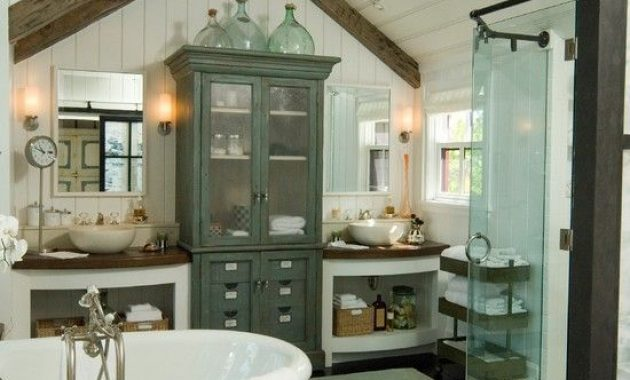 Vintage Farmhouse Bathroom With Wooden Beams And Vintage Furniture