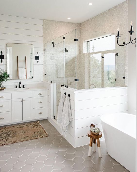 White Farmhouse Bathroom With Plank Walls And Grey Hex Tiles
