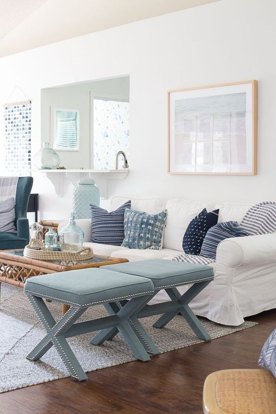 Airy Ocean-Inspired Living Room With Light Blues And Navy