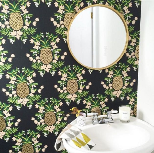Bathroom With Black Wallpaper With Pineapple And Floral Prints