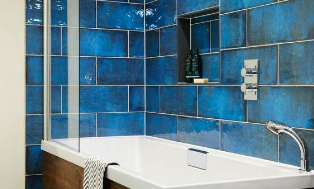Bathroom With Blue And Glossy Finish And A Wooden Clad Bathtub