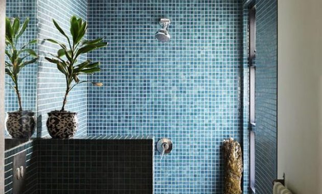 Bathroom With Bold Blue Mosaic Tiles In The Shower
