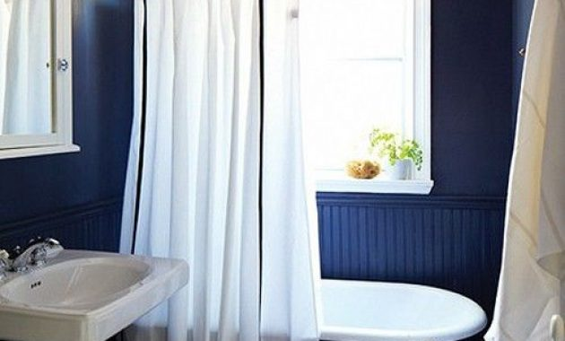 Bathroom With Navy Walls With Beadboard And Paint