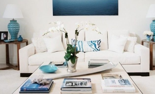 Beach Living Room In Creme And Bold Blues And A Modern Coffee Table