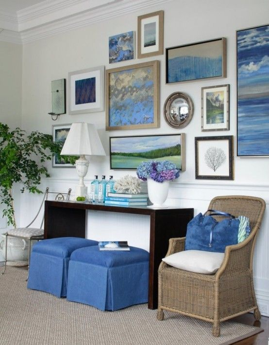 Beach Living Room With A Rattan Chair And Touches Of Bright Blue