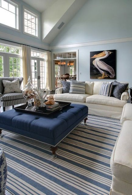 Blue And Navy Beach Living Room With Stripes And A Pelican Artwork