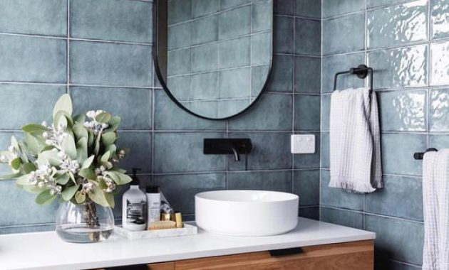 Blue Bathroom With Slate Blue Grey Tiles, A Wooden Floating Vanity
