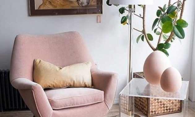 Blush Mid-Century Modern Reading Chair With Curves And Angles