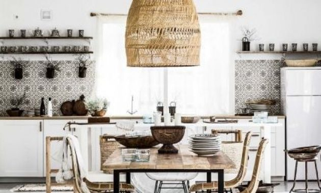 Boho Eclectic Kitchen And Dining Space With An Oversized Wicker Lampshade