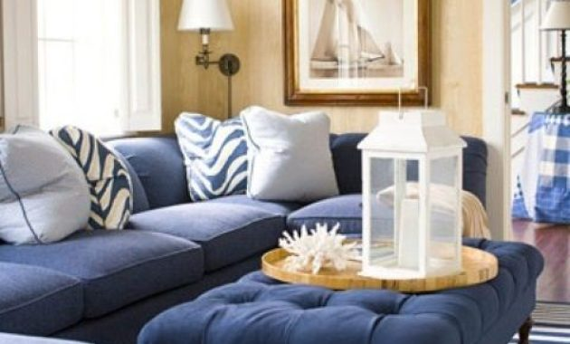 Bold Coastal Living Room With Navy Upholstered Furniture