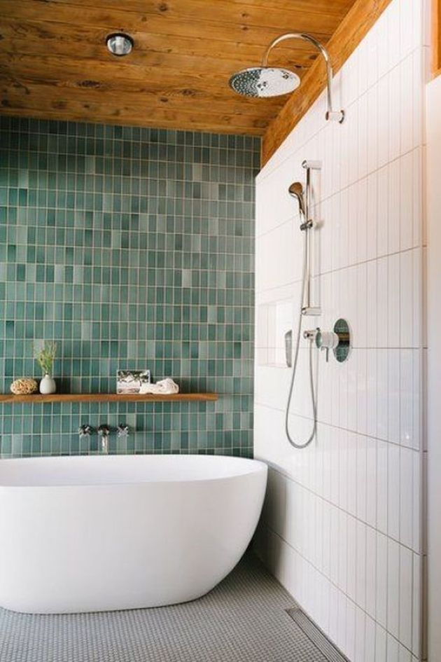 Bold Contemporary Bathroom With Skinny White And Mismatching Green Skinny Tiles