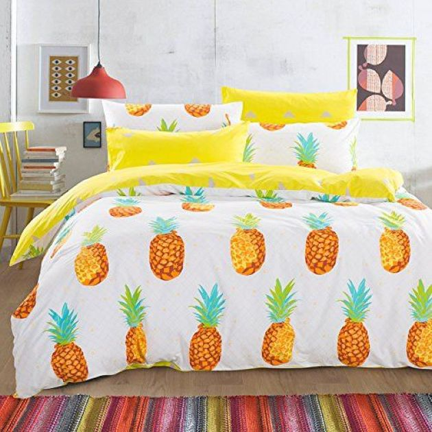 Bold Pineapple Duvet And Pillows For Bedroom Decor