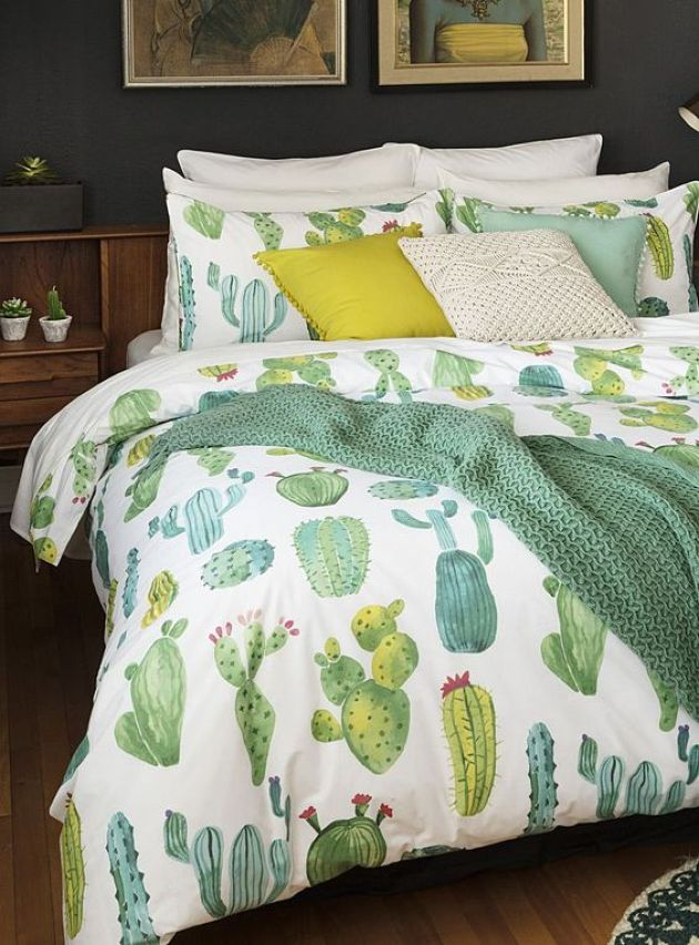 Cactus Print Bedding With Mustard Touches For Bedroom Decor