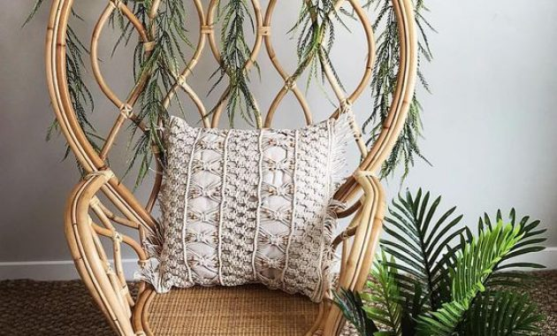 Catchy Rattan Peacock Chair Refreshed With Interwoven Greenery