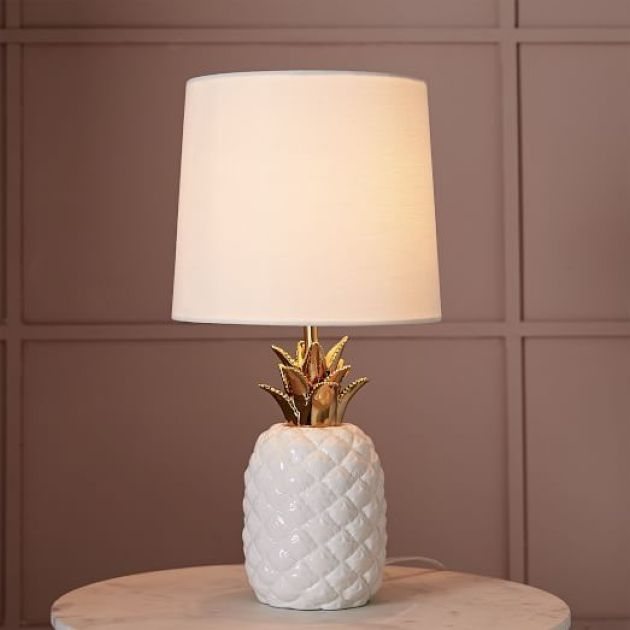 Ceramic Pineapple Table Lamp With A Neutral Lampshade For Bedroom Decor