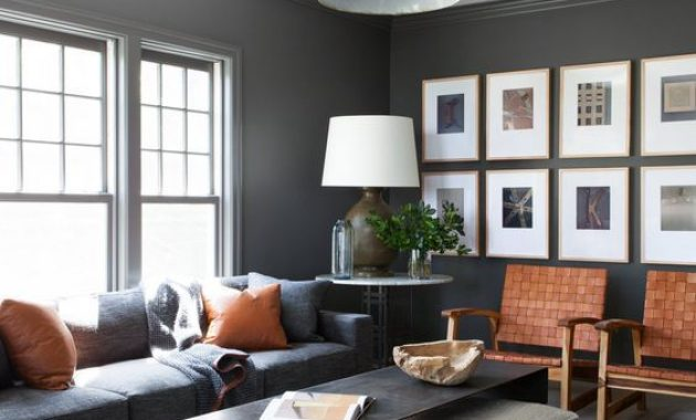 Chic Masculine Living Room With Dark Furniture And Walls