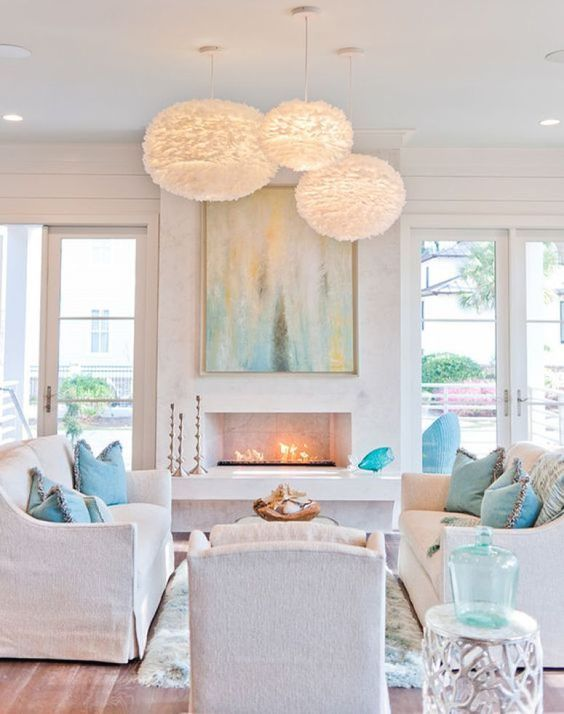 Chic White Beach Living Room With Aqua And Turquoise Touches