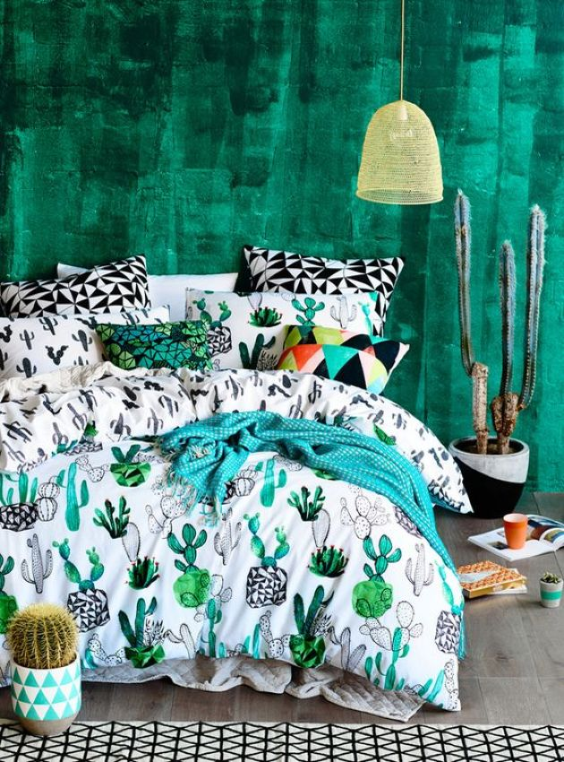 Colorful And Fun Cactus Print Bedding For Bedroom Decor