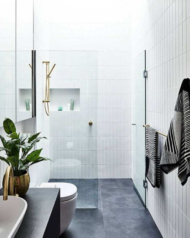 Contemporary Bathroom With Grey Tiles On The Floor And White Skinny Tiles