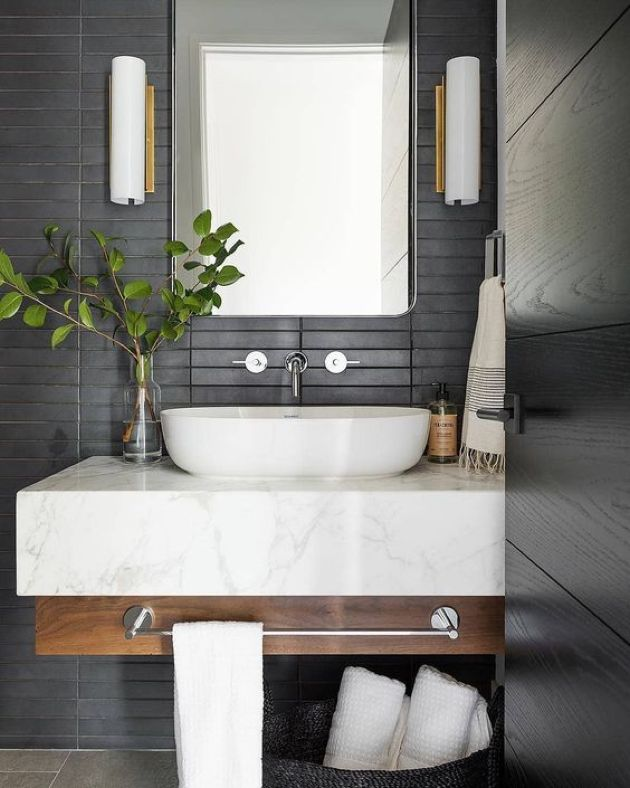 Contemporary Bathroom With Matte Black Skinny Tiles