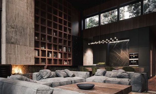 Contemporary Masculine Living Room With Dark Walls And A Large Storage Unit