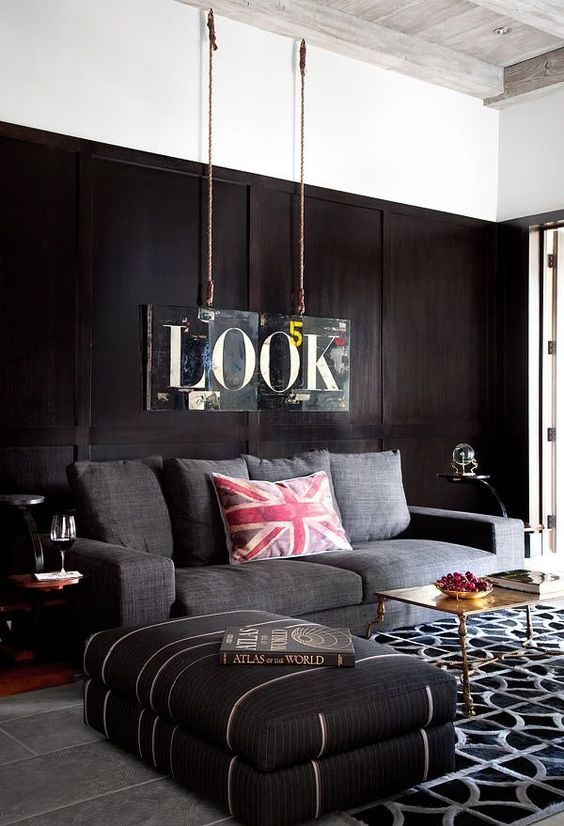 Contemporary Masculine Living Room With Dark Walls And Upholstered Furniture