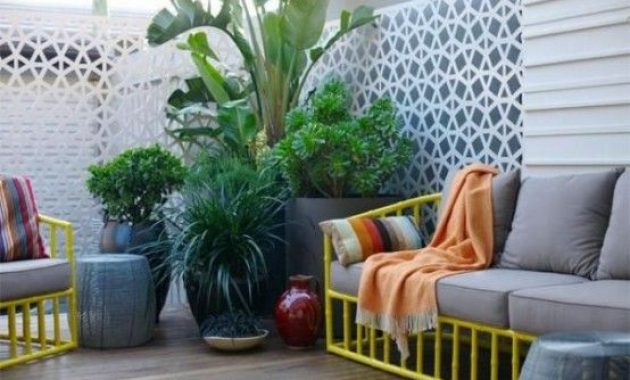 Contemporary Small Terrace Design Ideas With Bright Yellow Furniture