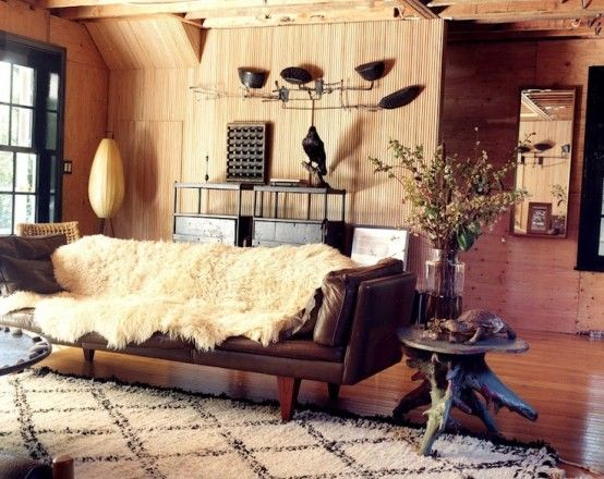 Cozy Masculine Living Room With Wooden Walls