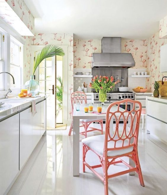 Creative Tropical Kitchen With Flamingo Wallpaper
