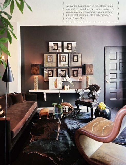 Dark Masculine Living Room With Dark Walls And Refined Upholstered Furniture