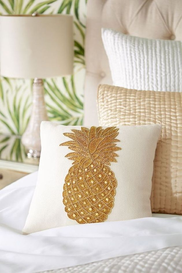 Embroidered Pineapple Pillow With Beading For Sofa Decor