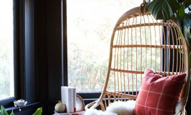 Hanging Rattan Birdcage Reading Chair With Pillows