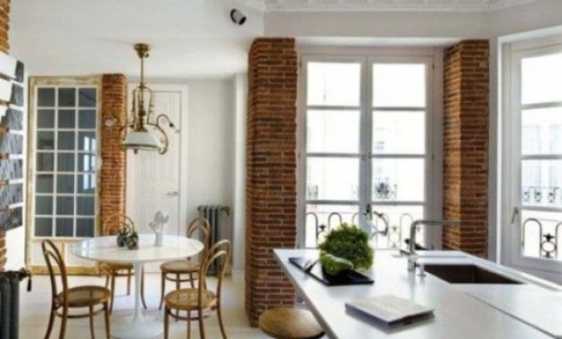 Kitchen With Cool Red Brick Pillars