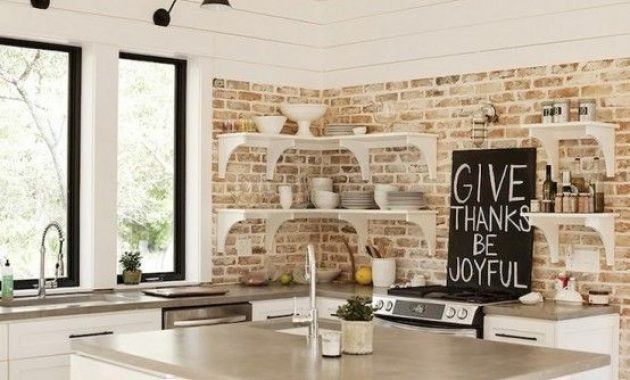 Kitchen With Distressed And Whitewashed Brick Walls