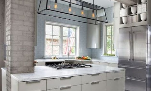 Kitchen With Light Blue Brick Walls And A Taupe Brick Pillar