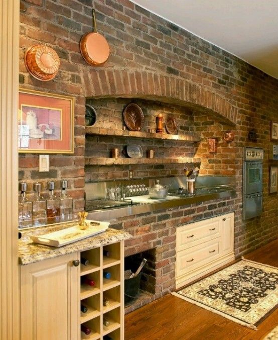 Kitchen With Original Brick Wall Exposed