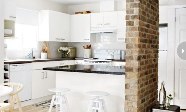 Kitchen With Red Brick Pillar