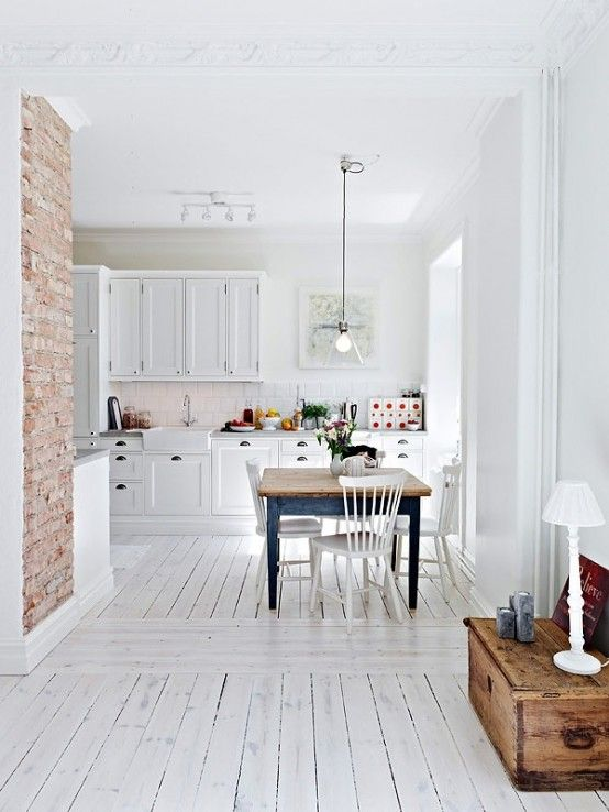 Kitchen With Red Brick Statement Wall