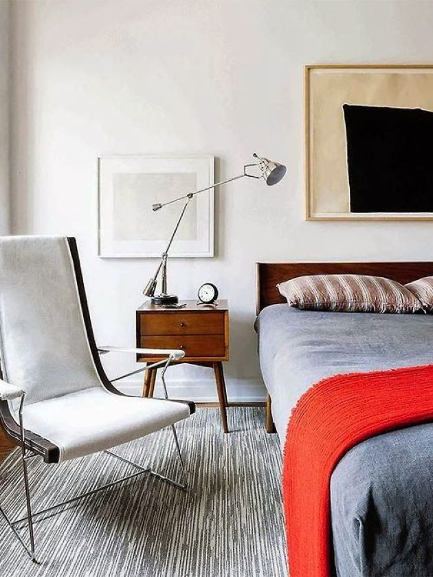 Laconic Mid-Century Modern Bedroom With A Catchy Thin Chair