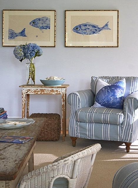 Light Blue And Grey And Tan Living Room In Coastal Style
