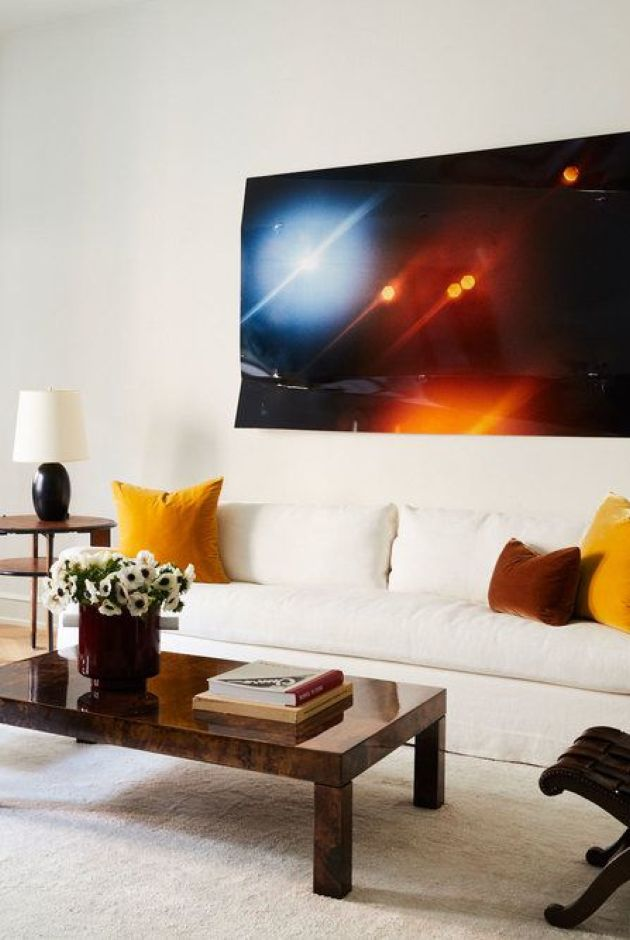 Living Room Decorating Ideas By Hanging Modern Art