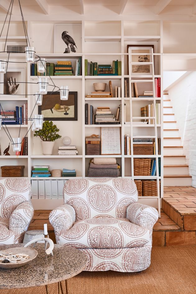 Living Room Decorating Ideas By Setting Up a Library Ladder
