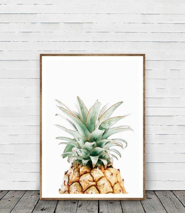 Living Room With Watercolor Pineapple Wall Art