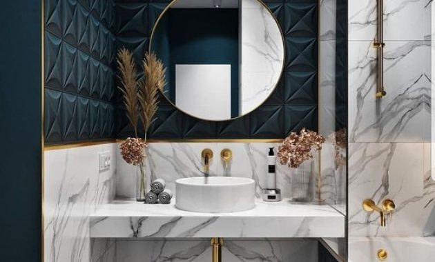 Luxurious And Glam Bathroom With Grey Marble And Teal Geometric Tiles