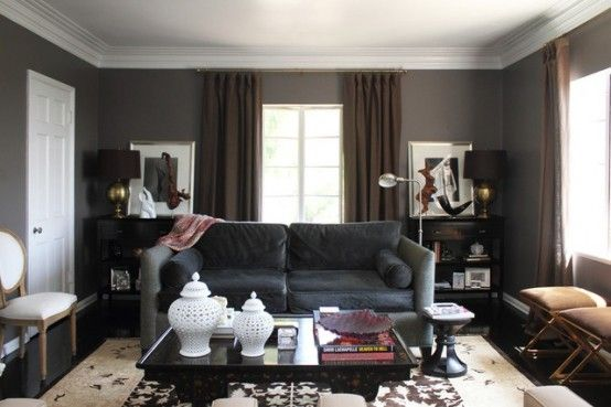 Masculine Dark Living Room With Upholstered And Leather Furniture