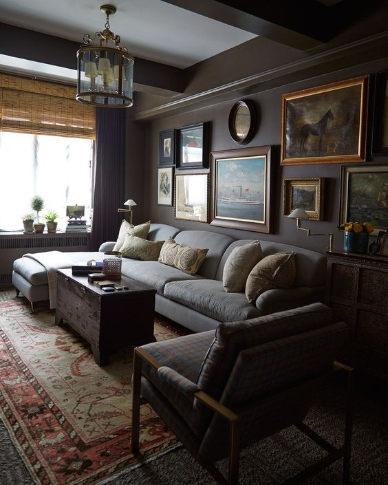 Masculine Refined Dark Living Room With Grey Walls And Grey Furniture