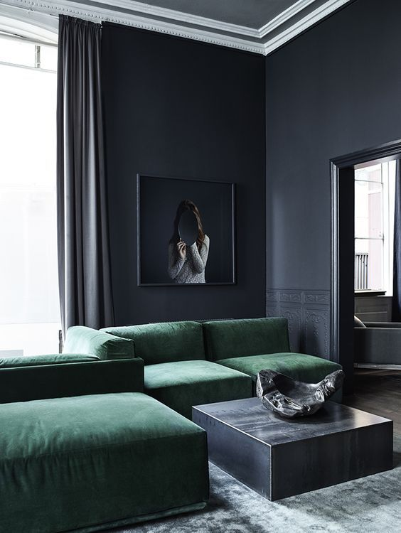 Minimalist Masculine Living Room With Graphite Grey Walls