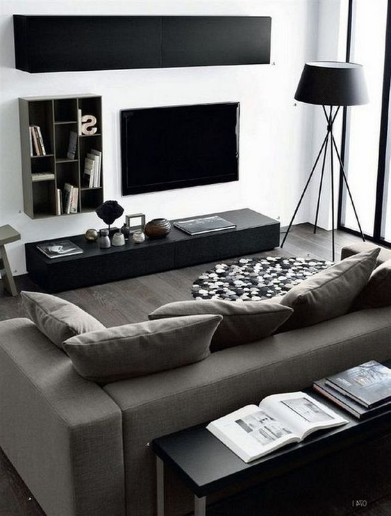 Minimalist Masculine Space With Black And Graphite Grey Furniture