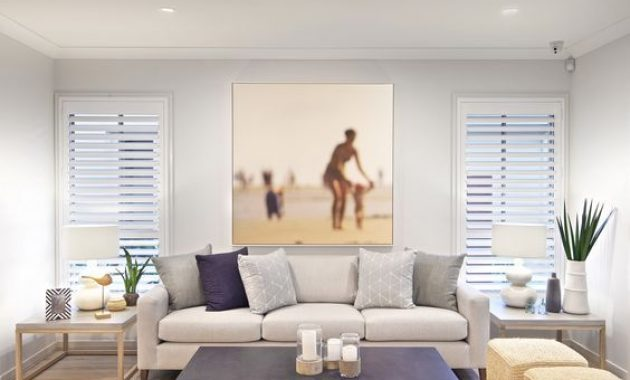 Modern Beach Living Room In Neutrals And Navy